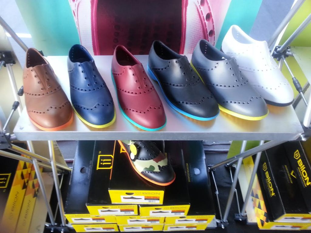 Biion Footwear, soft rubber, flexible and come in many colors and styles.